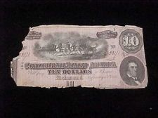** 1864 CSA CONFEDERATE STATES AMERICA CURRENCY $10 - AUTHENTICITY GUARANTEED *