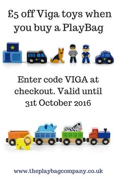 This October we are offering £5 off the fabulous wooden toys from Viga when bought with any PlayBag. The perfect combination.