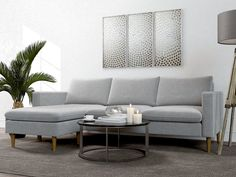 Shop modular sectional sofas with beautiful modern designs. Choose from a variety of colors like white, black or gray, as well as popular upholstery like leather and fabric. Ikea Living Room, Living Room Area Rugs, Living Room Grey, Living Room Modern, Living Room Furniture, Living Spaces, Living Rooms, Grey Sectional, Couches