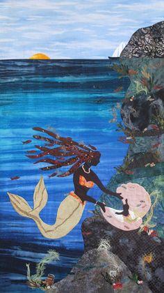 From an art exhibit showing merwomen &  mermaids in African American culture