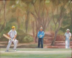 'Down the wicket' by Trent Chaplin. Oil on canvas.