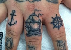 Anchor, Ship, and Wheel Nautical Hand Tattoos