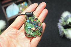 Enchanted garden fairy necklace mushroom necklace faerie