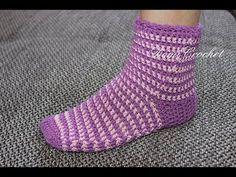 Jak háčkovat: ponožky // How to crochet - SOCKS - YouTube Crochet Dishcloths, Crochet Socks, Crochet Yarn, Crochet Stitches, Crochet Patterns, Crochet Throws, Crochet Afghans, Crochet Humor, Crochet Mandala