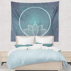 Teal Blue Lotus Mandala With Pink Design Bohemian Tapestry Hippie Zen Boho