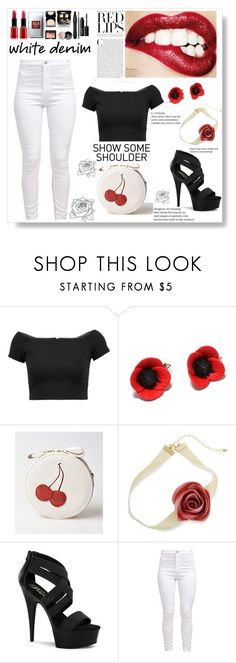 """""""White denim / Black top / Red lips"""" by pengy-vanou on Polyvore featuring Alice + Olivia, Erica Lyons, Pleaser and whitejeans"""
