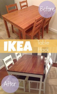 DIY IKEA Hack - The Jokkmokk table group has turned a cool sit-down into a . - Ikea DIY - The best IKEA hacks all in one place Diy Ikea Hacks, Hack Ikea, Ikea Furniture Hacks, Furniture Cleaning, Ikea Furniture Makeover, Furniture Chairs, Furniture Projects, Painted Furniture, Bedroom Furniture