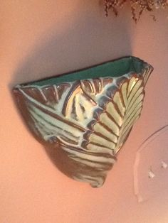 """Frankoma Prarie Green """"Tiki"""" Leaf Wall Pocket--I haven't seen this piece before."""