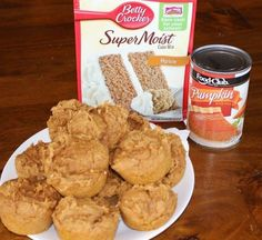 Pumpkin Muffins - Two Ingredients. Yes two! All you need is a box of Spice cake mix and a can of pumpkin puree. Quick, easy, and tasty.