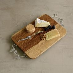 Nickel-Plated Branch Wood Cheese Board - Crafted of richly grained sheesham wood #companyscoming