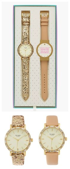 One watch, two ways! Loving this pastel pink and glittery gold watch set!