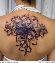 Flower tattoo. Popular Pinterest Tattoos...I would like it better without the stars & off centered, maybe even at a tilt.