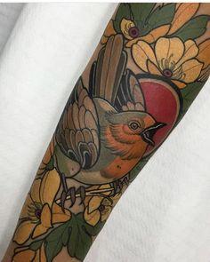 Traditional Tattoo Bird, Neo Traditional Art, Bird Tattoo Sleeves, Sleeve Tattoos, Cover Up Tattoos, Foot Tattoos, Neo Tattoo, Lotus Tattoo, Armpit Tattoo