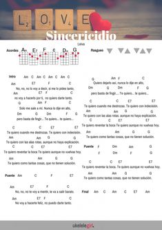 Sincericidio Leiva para ukelele de ukelelegirl.es Ukulele Tabs, Ukulele Songs, Ukulele Chords, Kalimba, Guitar Lessons, Musical, Ely, Piano, Tips