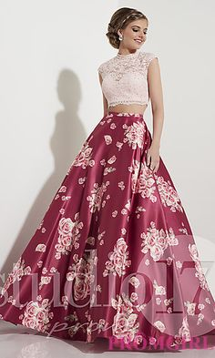 Rose Wine Pink Two-Piece Prom Dress with Print - Hoco Shirts - ideas of Hoco Shirts - Shop two-piece pink prom dresses at PromGirl. Rose wine ball gowns with high-necks lace tops and floor-length floral-print a-line satin skirts. Prom Dresses Two Piece, Pink Prom Dresses, Grad Dresses, Pretty Dresses, Homecoming Dresses, Beautiful Dresses, Formal Dresses, Dress Prom, Dress Wedding