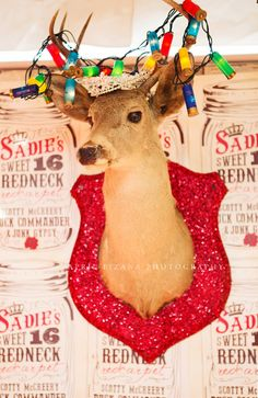 GLITTERED TAxidermy! OF CouRSe!! sadie robertson's sweet 16 REDneCk REdcarpet birthday party {junk gypsy co}