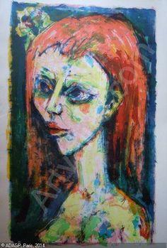 """LORJOU Bernard, 1908-1986 (France) Titre : """"Portrait de femme"""""""