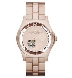 Marc by Marc Jacobs Henry Icon Automatic 40MM watch in Rose Gold with Heart cutout