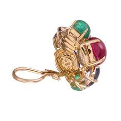 Seaman Schepps Emerald Ruby Sapphire Diamond Gold Vine Earrings 3