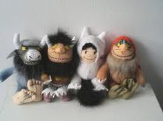 "Where the Wild Things Are dolls - about 7"" tall, in the living room"