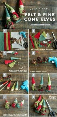 Felt & pinecone elves