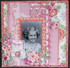 Mom, 1957 ~ Sweetly feminine heritage page with a bright vintage color palette. Love the hand stitched edging on the layered background and the beautiful ribbon details.