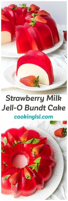 Milk Strawberry Jell-O Mold Bundt Recipe - a light and delicious no-bake dessert, made with a few staple ingredients. #strawberrycake #milkcake #jellycake #bundtcake