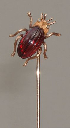 Antique Gold Hat Pin - Gold Beetle with Garnet Body & Diamond Eyes
