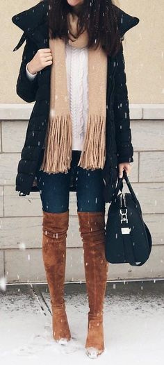 #winter #fashion / Black Coat / Brown OTK Boots / Beige Fringe Scarf / Black Leather Tote Bag / Navy Skinny Jeans