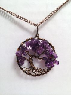 Tree Of Life Necklace Amethysth Pendant Silver Chain Brown Wire Wrapped Tree Semi Precious Gemstone Jewelry February Birthstone Jewelry door Just4FunDesign op Etsy https://www.etsy.com/nl/listing/200774157/tree-of-life-necklace-amethysth-pendant