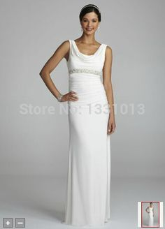 2016 Jersey Wedding Dresses Cowl Neck Dress with Beaded Sash Detail Style XS4090 Wedding Dresses
