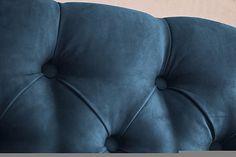 Cabecera Capitonada Suede Azul Oscuro
