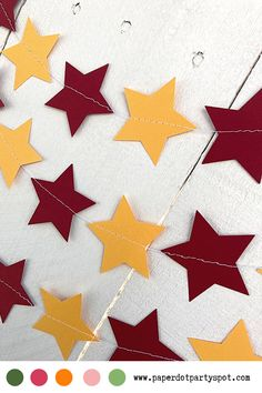 Your child has graduated! Celebrate this momentous occasion by decorating with garlands in school colors. These star garlands can be made in maroon and gold (think USC, Calvin University or University of Minnesota) or any other university colors. They are a fun, easy, and personalized way to decorate. School Decorations, Room Decorations, Food Tables, Neat And Tangled, Star Garland, Photo Booth Backdrop, Graduation Party Decor, Burgundy And Gold, Gift Table