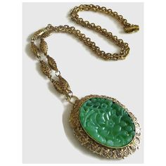 Faux Jade Pendant Necklace, Vintage Chinese Molded Lucite Plastic Gold... ($12) ❤ liked on Polyvore featuring jewelry and necklaces