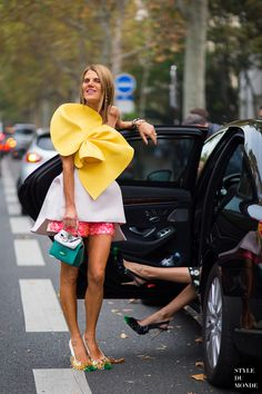 Anna Dello Russo wearing a Delpozo outfit, a Fendi bag and Rochas shoes #PFW ss15 #StreetStyle