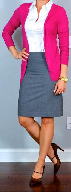 Outfit Messaggi: vestito postale twofer: matita strisce gonna, top senza maniche corallo, blu navy cardigan e gonna matita grigia, pulsante bianco up, cardigan rosa