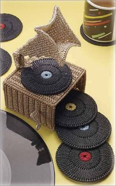 mirigurumi:Phonograph Coaster Set by: DRG -$3.99