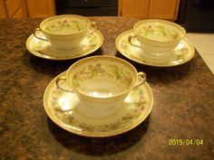 Vintage Noritake Soup Bowls Ariana Double Handled Under Plate Multi Color Floral #Noritake