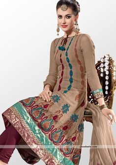 Grab all the attention in this stylish salwar kameez designed with beige shade. Kameez feature is decorative pattern vertically floral embroidery. Fancy shimmering dual shades hem it enhancing its beauty. You can wear it in night parties. http://goodbells.com/salwar-suits/stylish-brown-shade-salwar-kameez.html