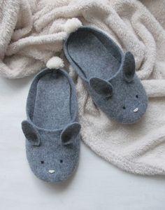 buty-Filcowe kapcie króliczki