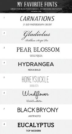 My favorite font list - Hyemi Oh - Web & Graphic Designer based in Orlando Florida