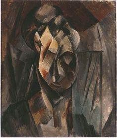 Picasso, Pablo  (Cabeza de mujer [Fernande]) Como apunta Jan Avgikos refiriéndose a los trabajos cubistas en general, la visión total de este tipo de lienzos –y, por ende, de Tête de femme (Fernande)– debe ser «pensada» tanto como «contemplada», tomando como punto de partida las pistas visuales proporcionadas por el autor, vestigios que solo después de ser convenientemente ensamblados proporcionan al lienzo su significado completo.