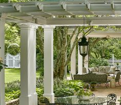A perfect spot to retreat from the afternoon sun. Green Garden, Shade Garden, Patio Enclosures, Front Deck, Astilbe, Covered Pergola, Garden Gates, Landscape Architecture, Yard