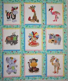 cute quilt of patchwork/applique animals Quilt Baby, Cot Quilt, Baby Quilt Patterns, Applique Patterns, Applique Quilts, Quilting Projects, Quilting Designs, Animal Quilts, Children's Quilts