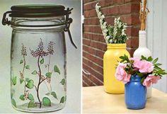 Tipos de pintura para decorar y pintar tarros de cristal. | Mil Ideas de Decoración Bottle Painting, Mason Jars, Glass Vase, Things To Do, Canning, Diy, Crafts, Home Decor, Google