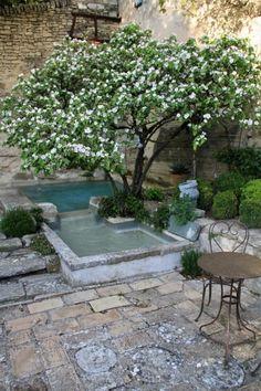 Small Backyard Pools, Small Pools, Garden Fencing, Garden Pool, Back Gardens, Outdoor Gardens, Cottage Garden Design, Outdoor Life, Garden Inspiration