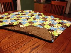 """Price: $30.00. Quilted front """"Owls"""" brown bubble back""""40 X 35"""" MADE BY KRIS"""
