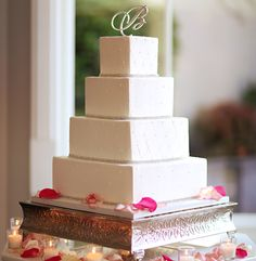 White monogram wedding cake | 5 Beautiful Cakes from Recent Real Weddings | Contemporary Bride