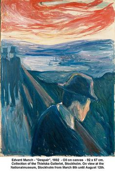 Despair (Sick Mood at Sunset) - Edvard Munch Paintings Edvard Munch, Post Impressionism, Monet, Art And Architecture, Oeuvre D'art, Great Artists, Art Inspo, Art History, Painting & Drawing