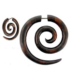 Pair-Fake-Faux-Hand-Carved-BROWN-ROUND-HYPNO-SPIRAL-GAUGES-EARRINGS-Wood-Steel